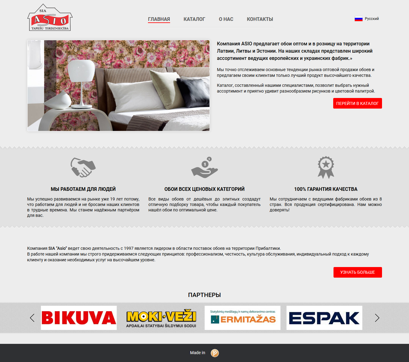 Main page web design in riga